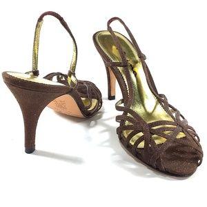 Nina Glitter Strappy Sandals Brown Slingback 8.5